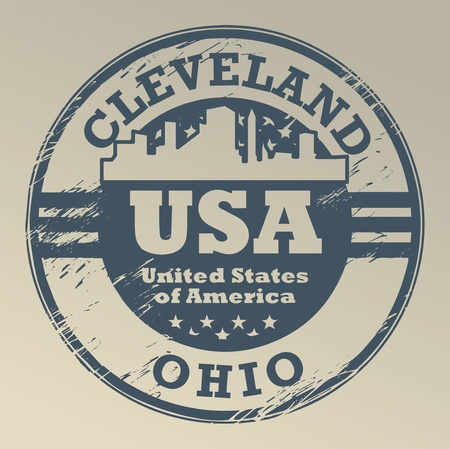 Grunge rubber stamp with name of Ohio, Cleveland Vector