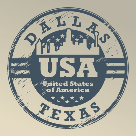 Grunge rubber stamp with name of Texas, Dallas Vector