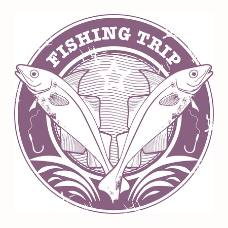 Grunge rubber stamp with fish shape and the text Fishing Trip written inside Vector