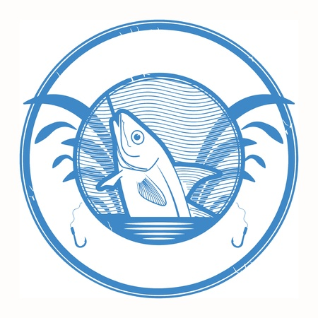 torneio: Carimbo de borracha de Grunge com forma de peixe e lugar para o texto dentro Ilustração