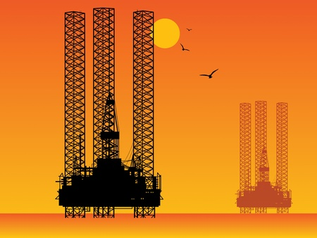 Sea Oil Rig Drilling Platforms Vector