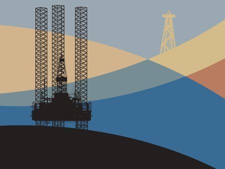 drilling rig: Sea Oil Rig Drilling Platform on abstract background Illustration