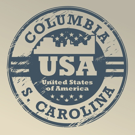 Grunge rubber stamp with name of South Carolina, Columbia Vector