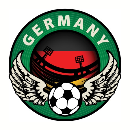 Label with football and name Germany Vector