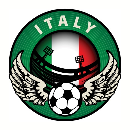 Label with football and name Italy Stock Vector - 17074810