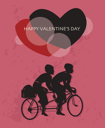 Tandem bicycle and text Happy Valentine s Day inside Vector
