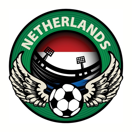 Label with football and name Netherlands Stock Vector - 17074813