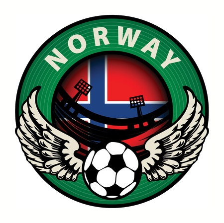 Label with football and name Norway Stock Vector - 17074826