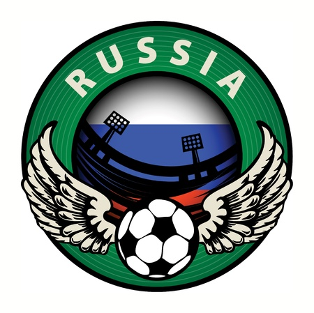 qualified: Label with football and name Russia Illustration