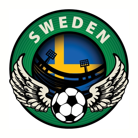 Label with football and name Sweden Stock Vector - 17074824