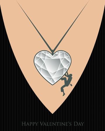 Valentine Day rock climbing Stock Vector - 17110742