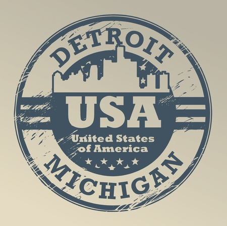 Grunge rubber stamp with name of Michigan, Detroit,