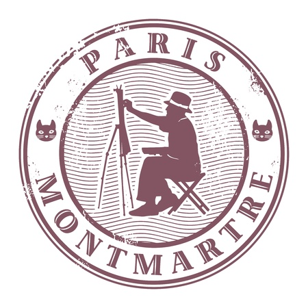 Stamp with painter silhouette and the word Paris, Montmartre Vector