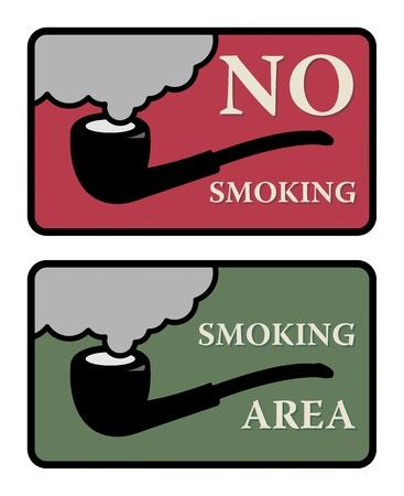 smoking place: No Smoking and Smoking area signs