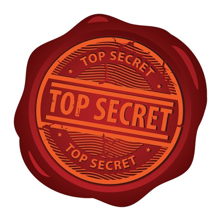 Wax seal with text Top Secret inside Vector