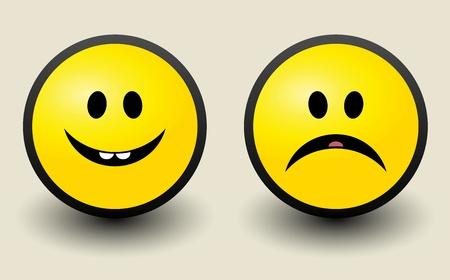 Happy and Sad smiley icon Vector