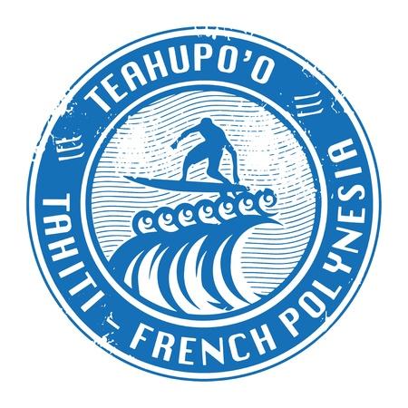 surf silhouettes: Grunge timbro di gomma con il nome di Teahup o, Tahiti