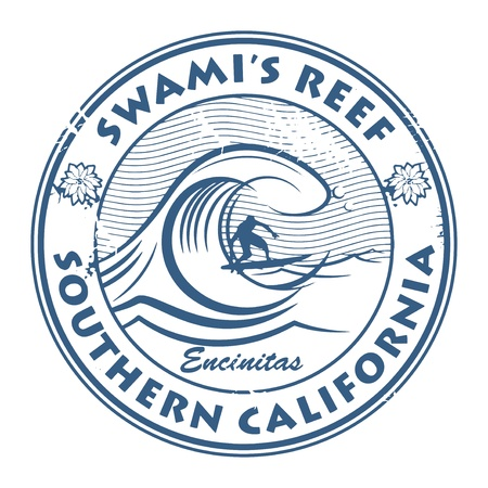 Stamp with surfer on wave and name of Swami s Reef, California Vector
