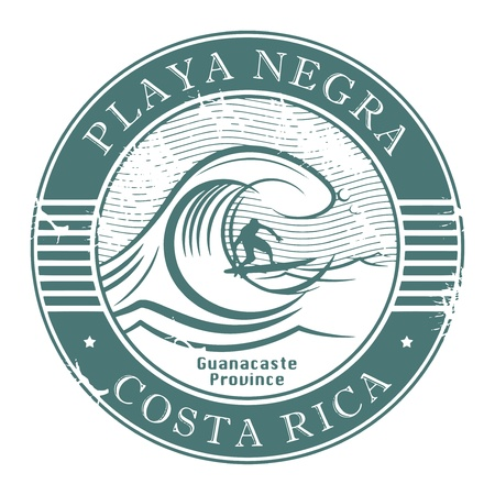 Stamp with surfer on wave and name of Playa Negra, Costa Rica Vector