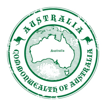 australia stamp: Grunge rubber stamp with the name and map of Australia