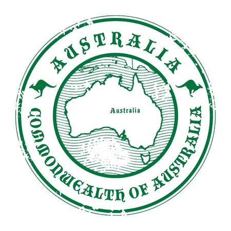 pasaporte: Grunge sello de goma con el nombre y el mapa de Australia