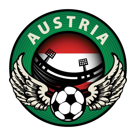 Label with football and name Austria Stock Vector - 17215662