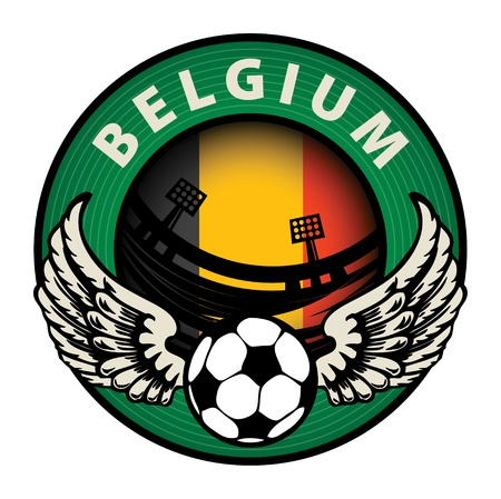 Label with football and name Belgium Vector
