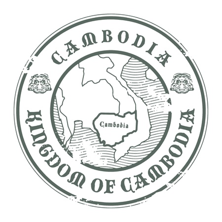 Grunge rubber stamp with the name and map of Cambodia Vector