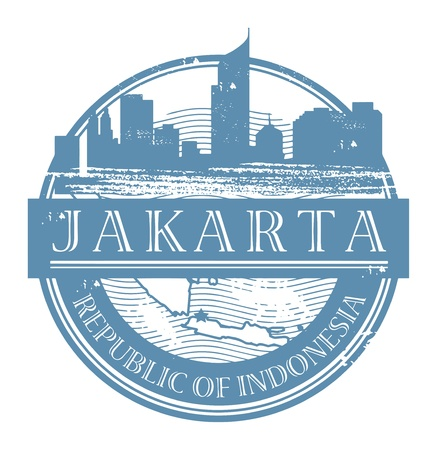 indonesia culture: Grunge rubber stamp with the name of Jakarta, Indonesia written inside the stamp