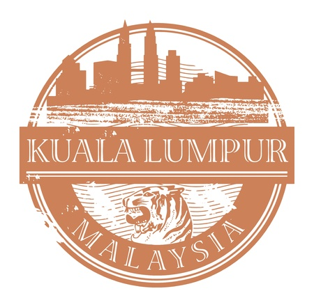 rubber stamp: Grunge rubber stamp with the name of Kuala Lumpur, Malaysia written inside the stamp