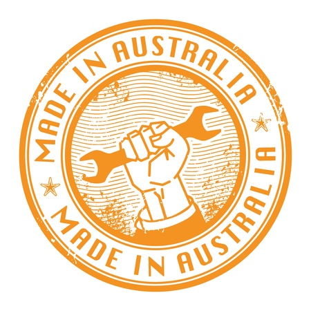certificated: Grunge rubber stamp with words Made in Australia inside
