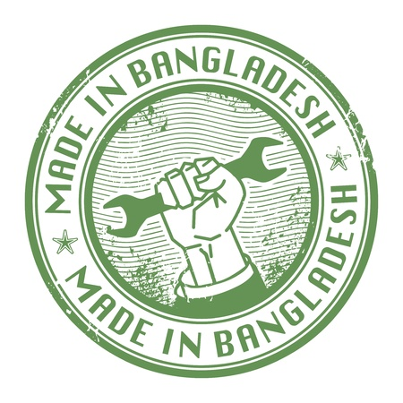 bangladesh: Grunge rubber stamp with words Made in Bangladesh inside