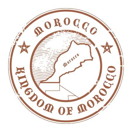 postmark: Grunge Stempel mit dem Namen und der Karte von Marokko