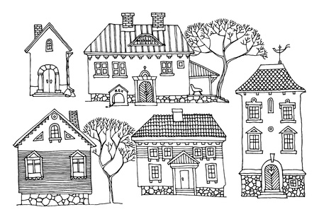 house outline: Cartoon hand drawing houses Illustration