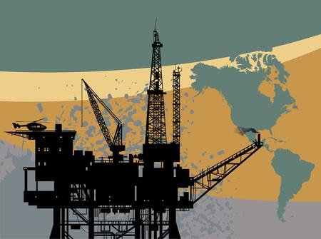 Plate-forme pétrolière en mer abstrait Vecteurs
