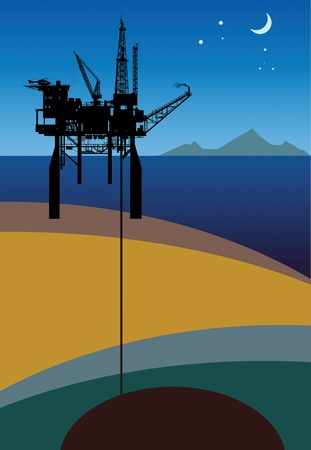 Sea Oil Rig Drilling Platform Vector