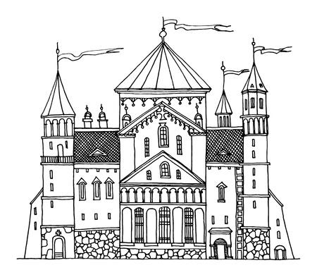 Cartoon hand drawing castle Stock Vector - 17215614