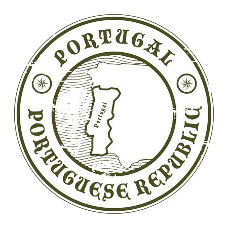 Grunge rubber stamp with the name and map of Portugal Stock Vector - 17215663