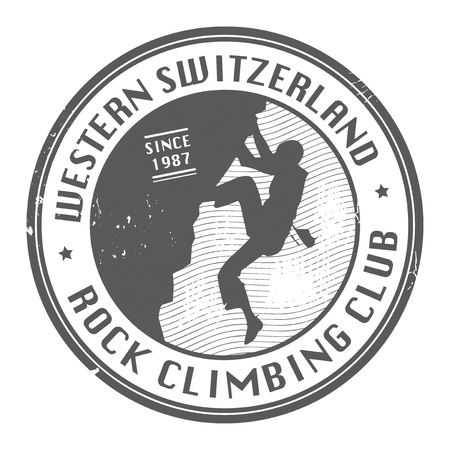 rappelling: Rock climbing club stamp