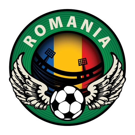 Label with football and name Romania Stock Vector - 17215659