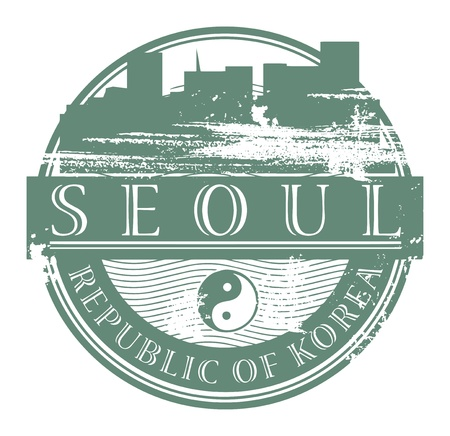 seoul: Grunge rubber stamp with the name of Seoul, South Korea written inside the stamp