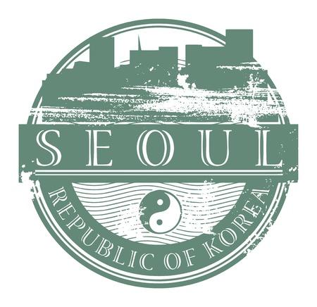 seoul: Tampon en caoutchouc grunge avec le nom de Seoul, Cor�e du Sud �crit � l'int�rieur du timbre Illustration