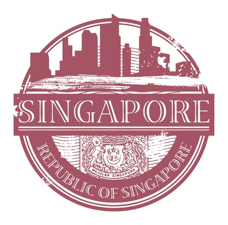 singapore culture: Grunge rubber stamp with the name of Singapore written inside the stamp