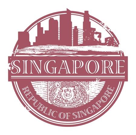 Grunge sello de goma con el nombre de Singapur por escrito dentro del sello