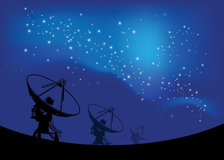 observatory: Radio telescope on the Space stars background  Illustration