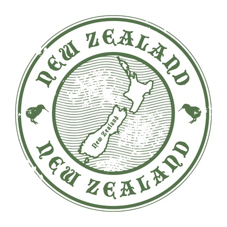 new zealand: Grunge rubber stamp with the name and map of New Zealand Illustration
