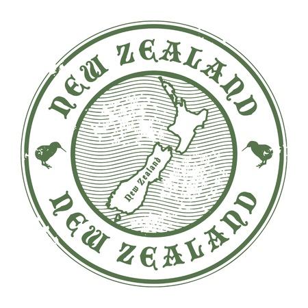 post stamp: Grunge timbro di gomma con il nome e la mappa della Nuova Zelanda