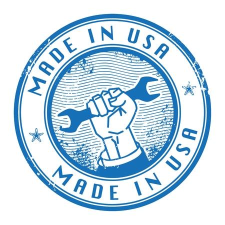 сделанный: Grunge штамп со словами Сделано в США внутри