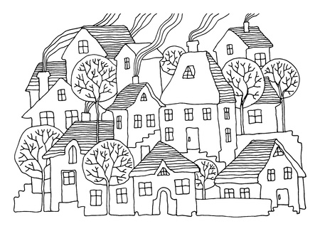 town houses capital: Cartoon hand drawing houses Illustration