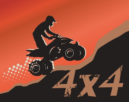 4 wheel: Off-road absctract background Illustration